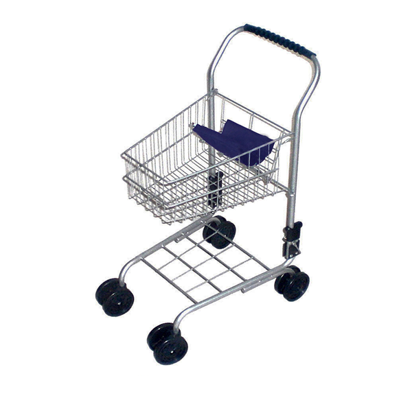 Small Metal Shopping Trolley Silver