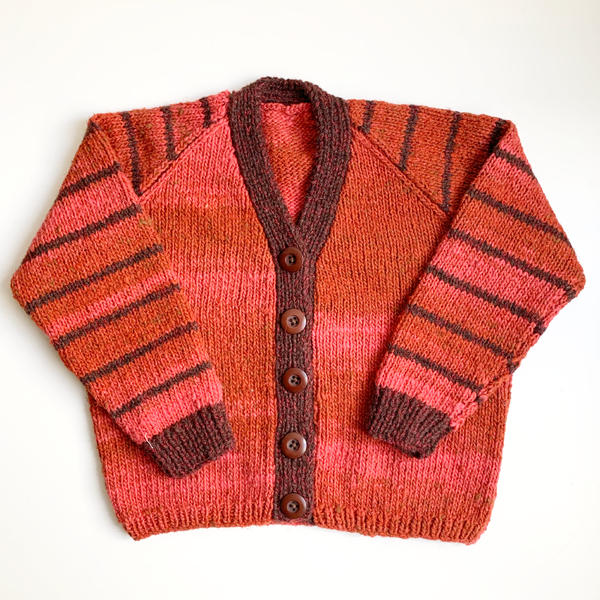 Hand Knit Classic Cardigan - Orange/Brown