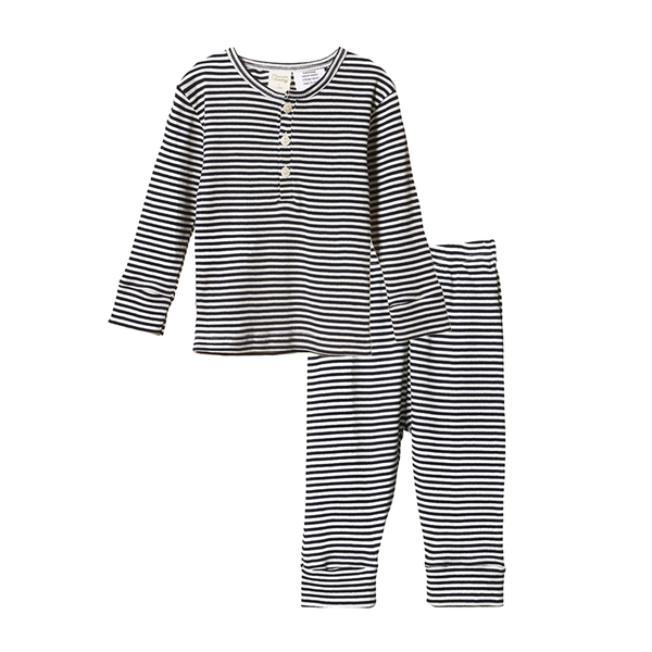 Nature Baby 2PC L/S Rib Pyjamas - Navy Stripe
