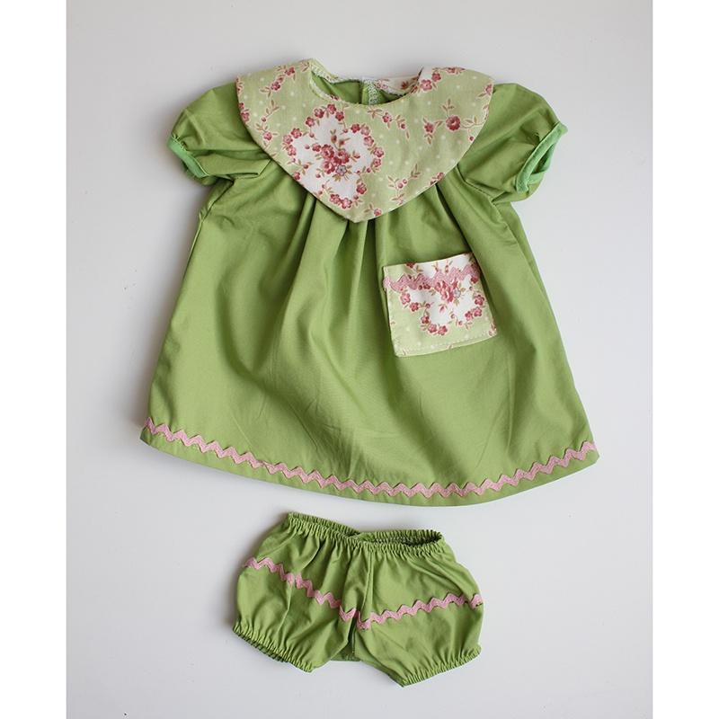 Dolls Dress & Bloomers Set - Green Floral