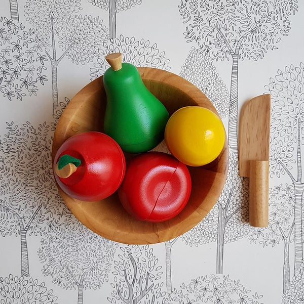 Shorties Kids Wooden fruit bowl and knife childrens blocks Montessori Steiner School