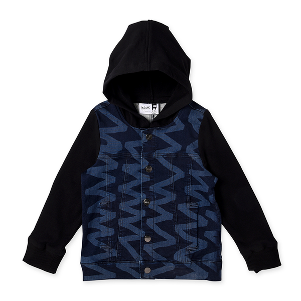 Minti Ziggy Hooded Rocker Jacket - Dark Blue Denim