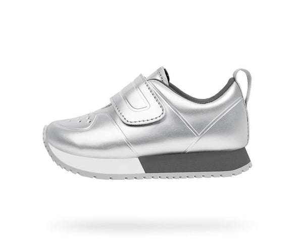 Native Shoes kids shoes for boy and girl. Cornell Metallic Silver