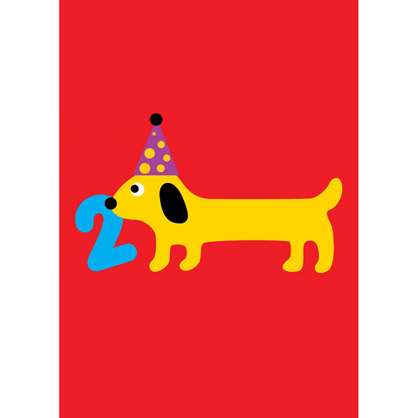 Scoops Small Card - 2 Years Sausage Dog