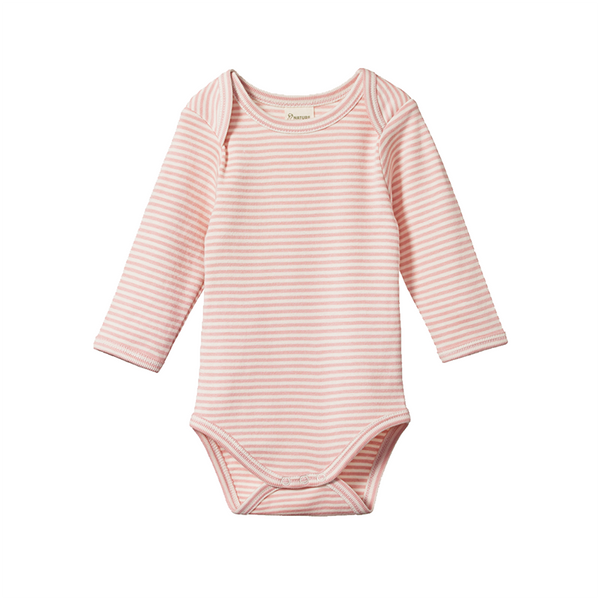 Nature Baby LS Bodysuit - Rose Bud Stripe