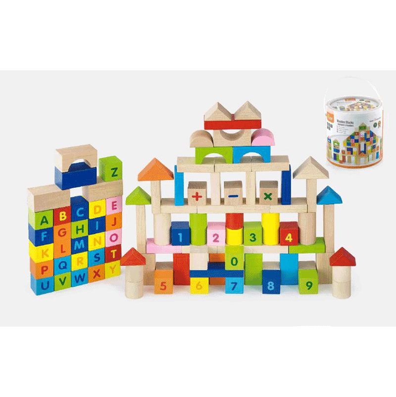 Viga 100PC Blocks Set - Alphabet & Numbers