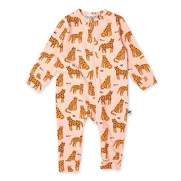 Minti Friendly Cheetahs Zippy Suit - O/Marle
