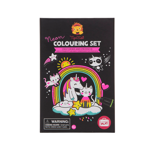 Tiger Tribe Neon Colouring Set - Unicorn