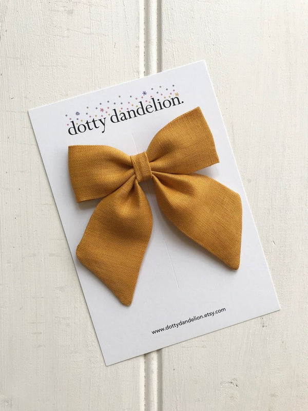 Dotty Dandelion Party Bow Clips - Mustard