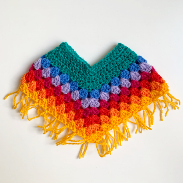 Dolls Multicoloured Crochet Poncho - Teal