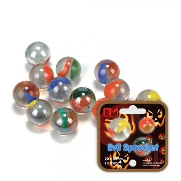 Evil sprocket glass marbels for some retro school yard games fun from Shorties