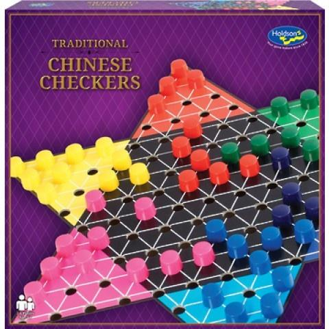 The Classic Chinese Checkers game, one of Holdson's Traditional Games series. 2 to 6 players manoeuvre their ten playing pieces out of their home triangle and across the board into the opposing triangle. Try to jump opponents pieces to move faster while trying to block opponents attempting to move across the board.