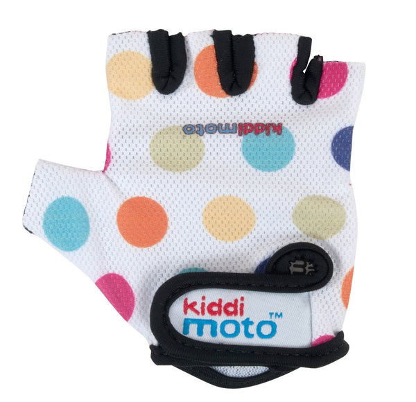 Super cool kiddi motto Bike and scooter riding gloves in Pastel Polka Dots