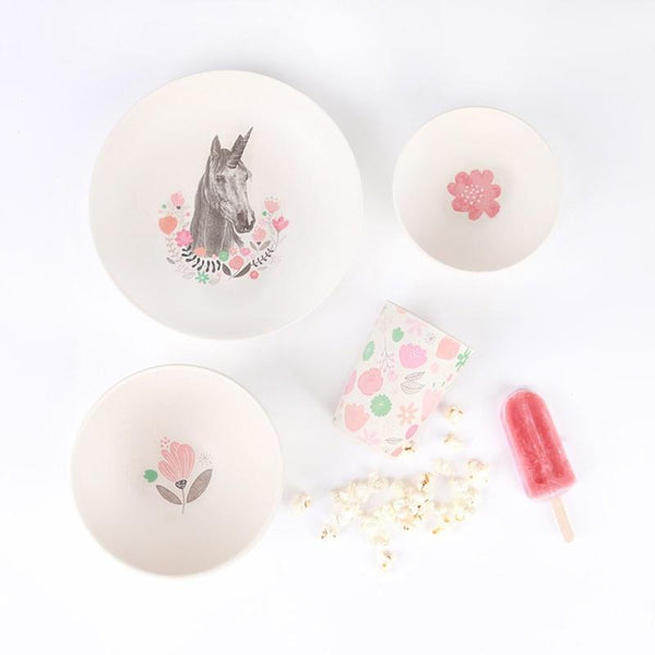 Love Mae Bamboo Dinner Set - Unicorn Supper