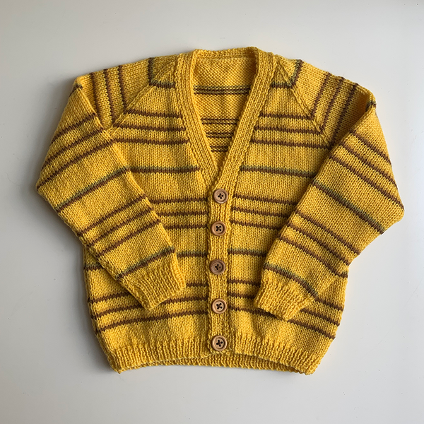 Hand Knit Classic Cardigan - Yellow/Brown Stripe