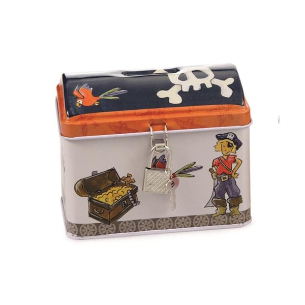 Egmont Metal Savings Bank - Pirate money box with its own padlock and key