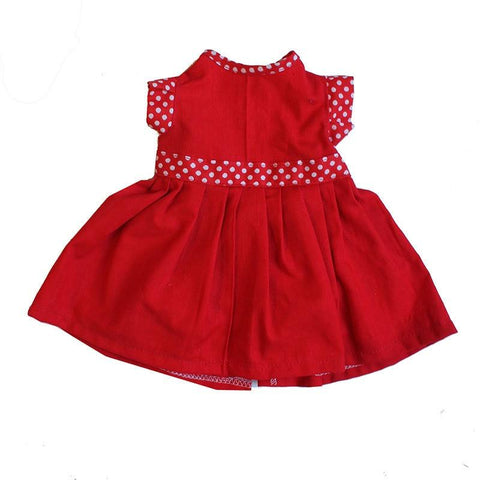 Dolls Dress - Red with Polka Dot Trim large