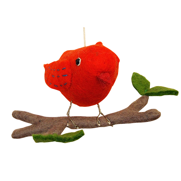 Big felt orange bird on a branch , A stylish Felt mobile for babies room
