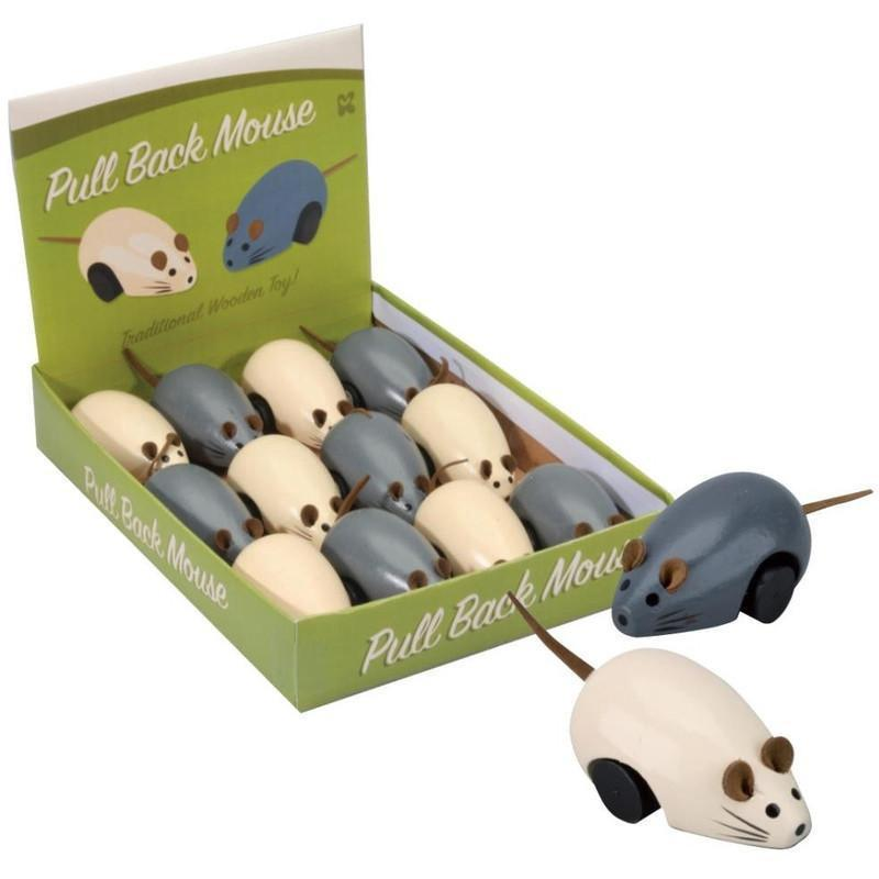 Wooden Pull Back Mouse