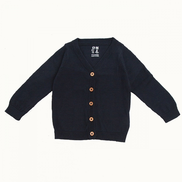 Nature Baby Cotton Knit Cardigan - Navy