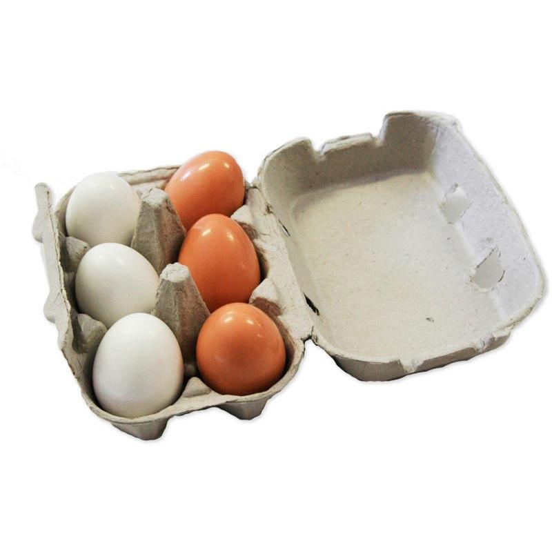 Wooden Egg Set in Egg Carton