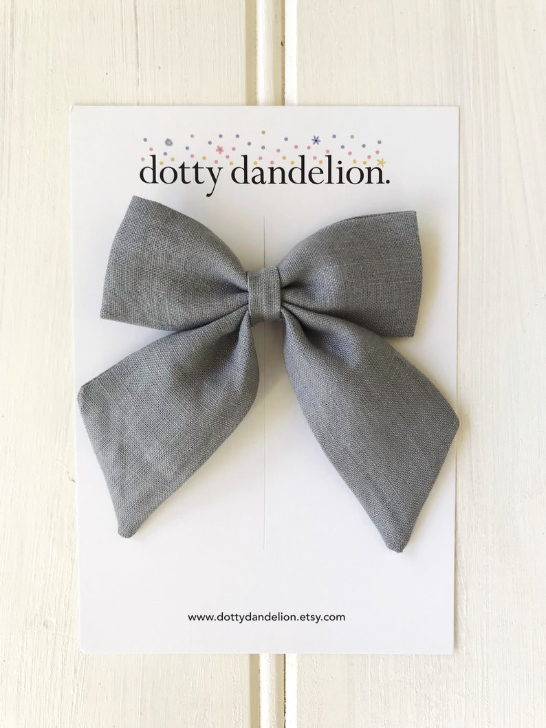 Dotty Dandelion Party Bow Clips - Stone