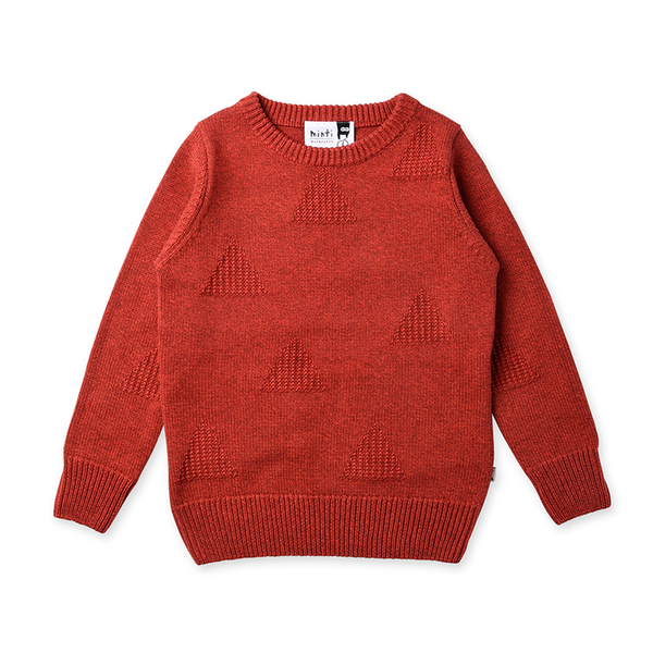 Minti Triangles Knit Crew - Currant Motley