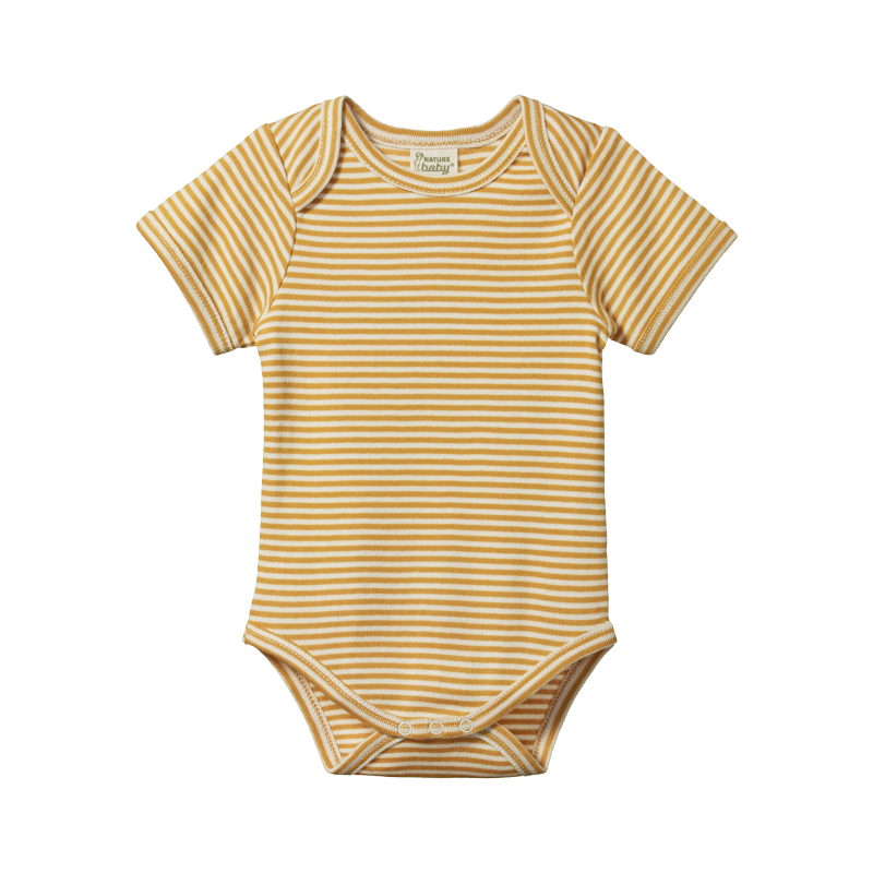 Nature Baby S/S Bodysuit - Honey Stripe