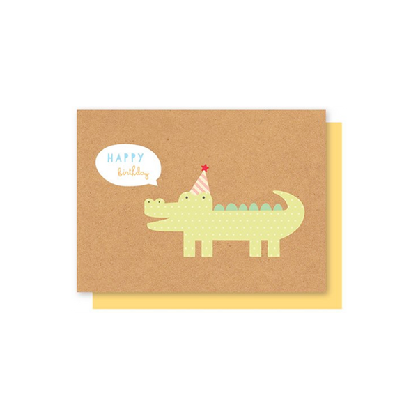 Elly Oak Card - Kraft Birthday Crocodile