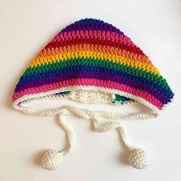 Crochet Bonnet Rainbow Stripe Cream