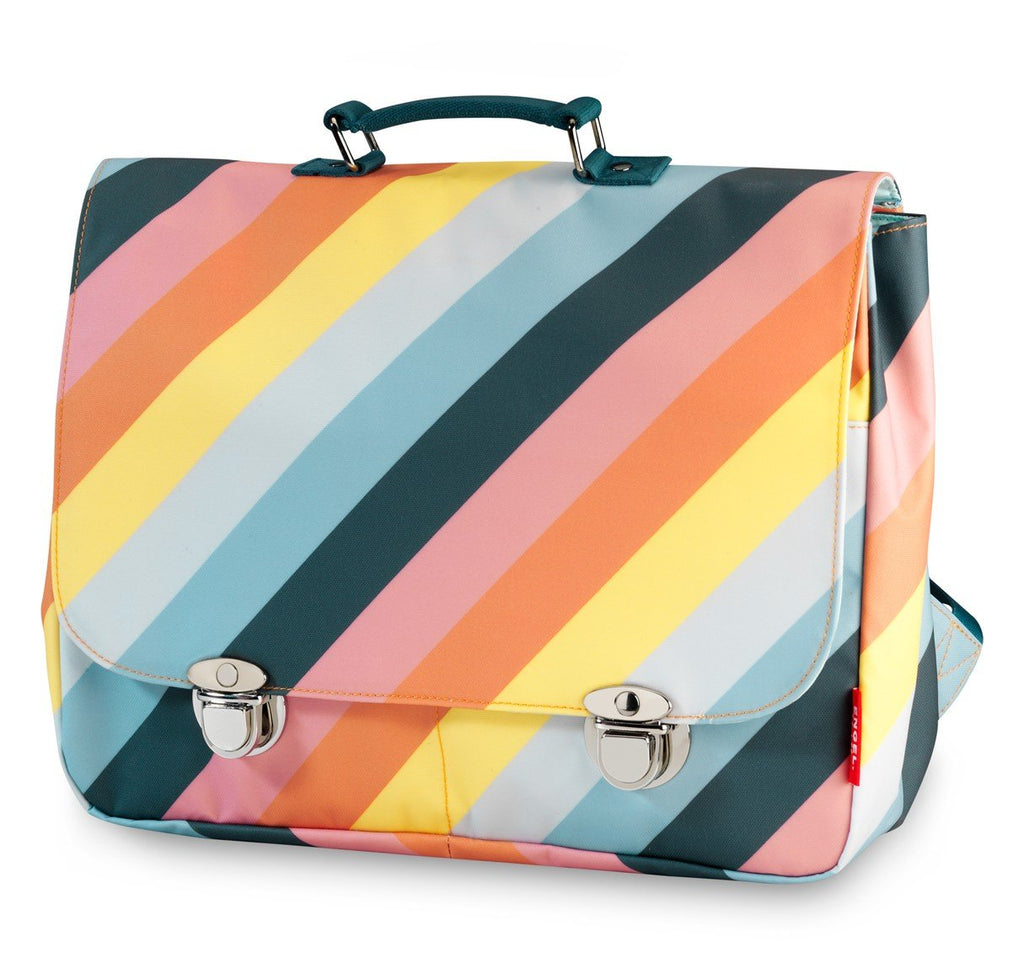 Engel Large School Bag - Rainbow Stripe