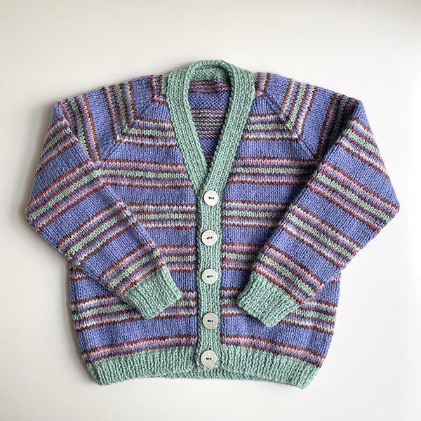 Hand Knit Classic Cardigan - Blue/Teal Stripe
