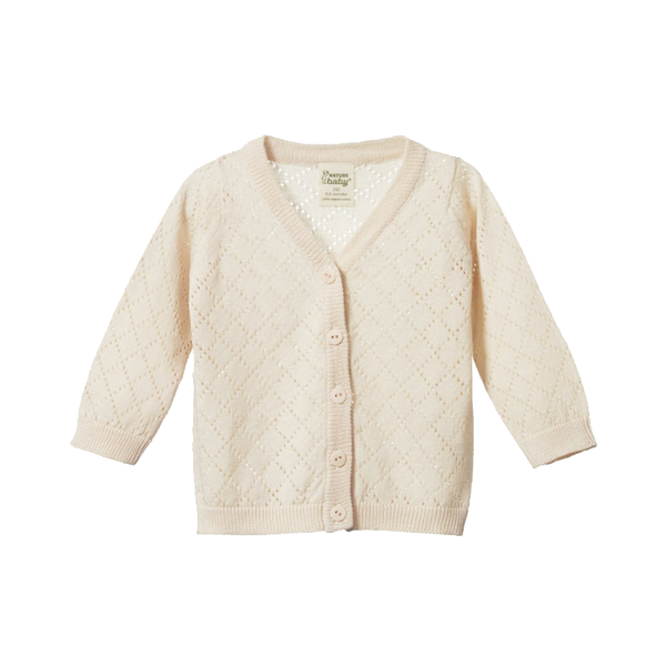 Nature Baby Light Cotton Knit Cardigan - Natural Diamond
