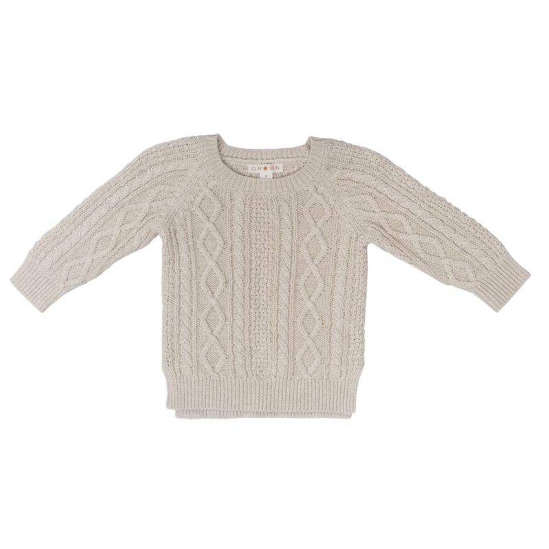 Grown Cable Knit Pull Over - Oatmeal Marle