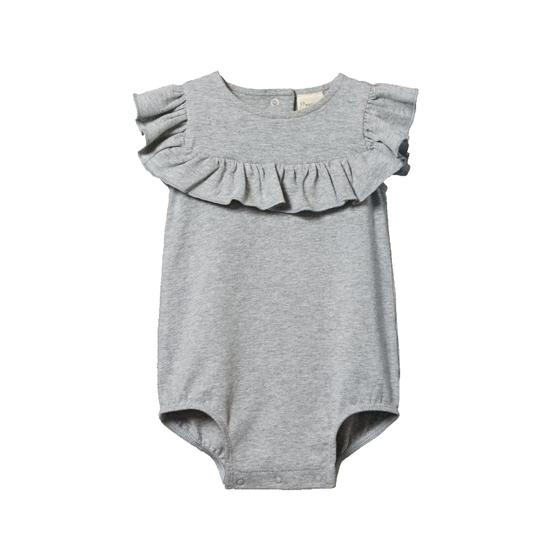 Nature Baby Frill Suit - Grey Marle