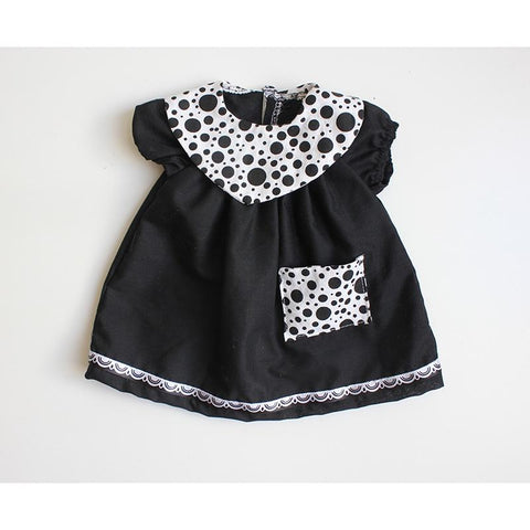 Dolls Dress & Bloomers Set - Black Polka Dot