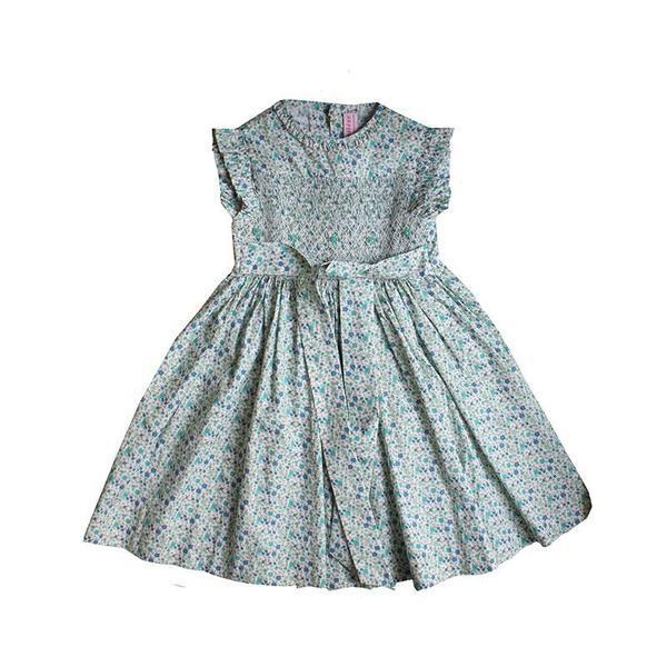 Meleze Hand Smock Dress - Blue Floral