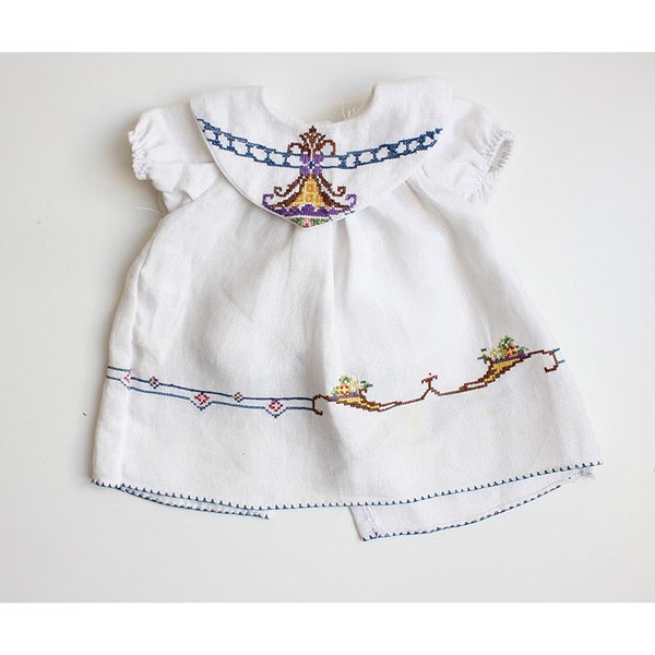 Dolls Dress & Bloomers Set- Vintage Linen w/ Hand Stitched Embroidery