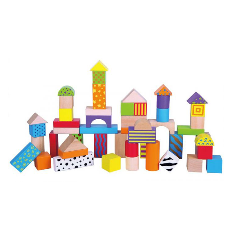 Wooden blocks Coloured Pattern Blocks in a barrel