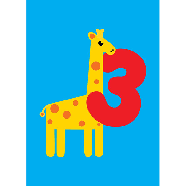 Scoops Small Card - 3 Years Giraffe