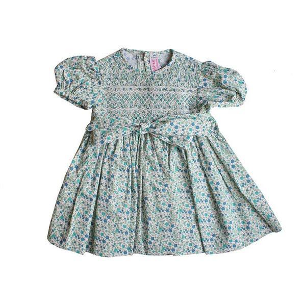 Meleze Hand Smock Dress - Blue Floral Geometric