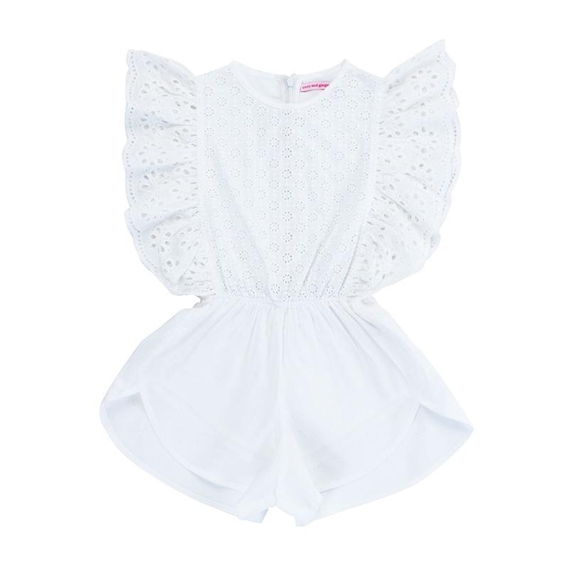 Delphine Playsuit - White Lace