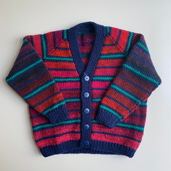 Hand Knit Classic Cardigan - Teal Stripe