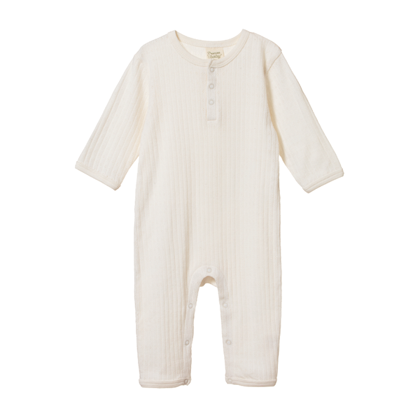 Nature Baby Henley Pyjama Suit - Pointelle