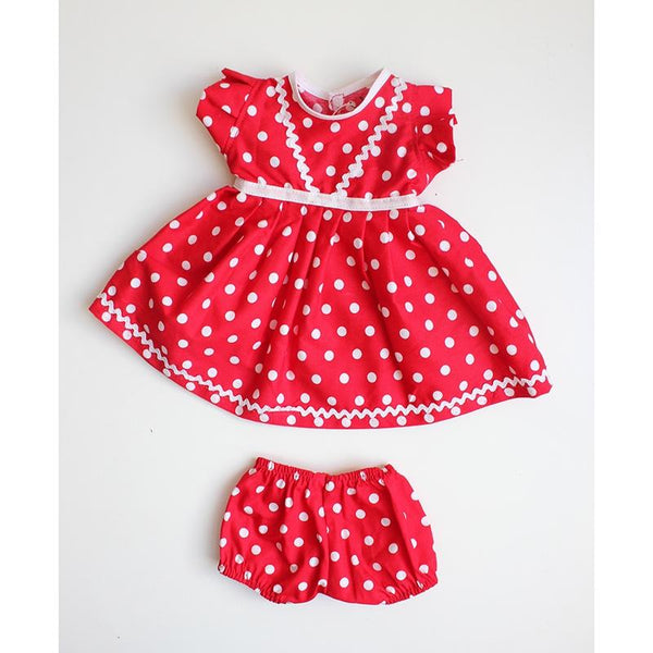 Dolls Dress & Bloomer Set - Red Polka Dot