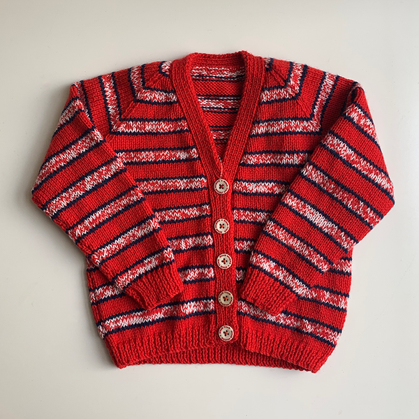 Hand Knit Classic Cardigan - Red/White/Navy Stripe