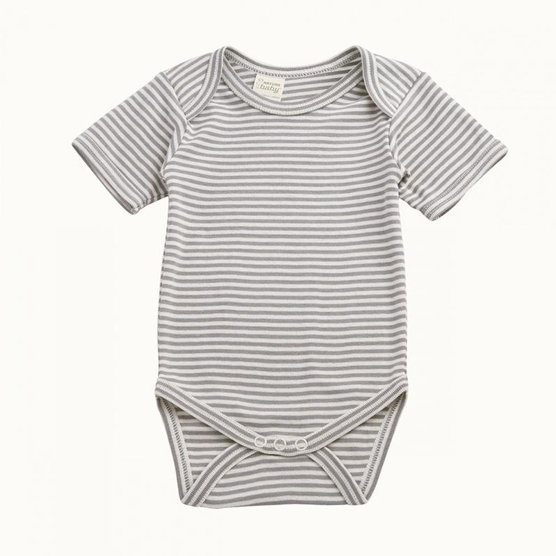Nature Baby S/S Bodysuit - Grey Stripe