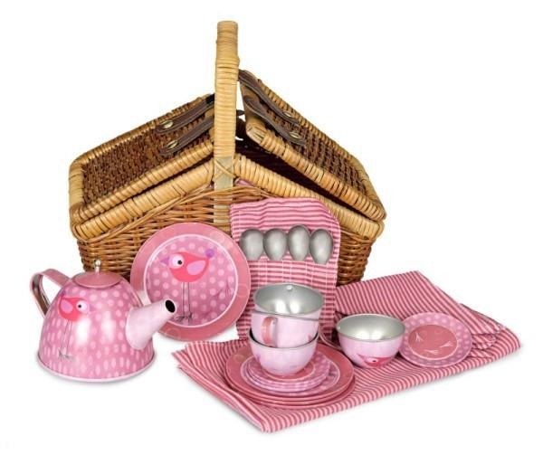 Tin Tea Set In Basket - Bird