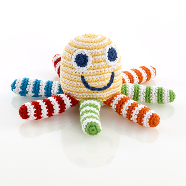 Pebble Octopus Rattle - Yellow