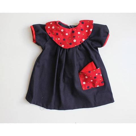 Dolls Dress & Bloomers Set - Navy w/ Dot Patterns